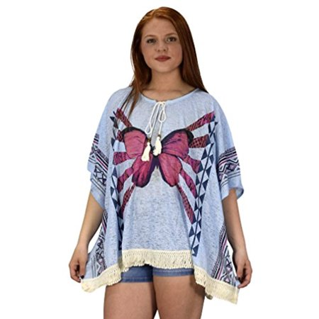Peach Couture Butterfly Print Tasseled Light weight Summer Cover Up Cardigan (Couture Covers)