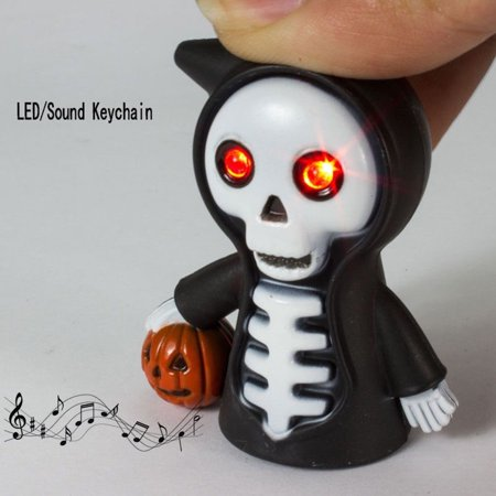 Sound Effects Halloween Sounds Of Horror (Halloween Scary Skull LED Light & Sound Key Ring Keychain Death Ghost Luminous Horror Skeleton Key Chain)