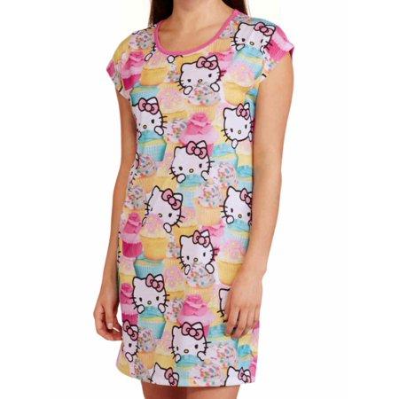 fb1d3b2bf Hello Kitty - Hello Kitty Womens Pink Cupcake Print Sleep Shirt Nightgown  Nightie - Walmart.com