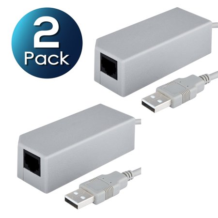 2 Pack Insten USB 2.0 10/100 Mbps RJ45 Lan Ethernet Wired Internet Network Adapter For Nintendo Switch / Wii / Wii U Gaming Wired Connection