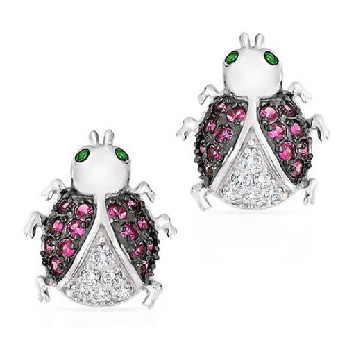 Bling Jewelry Lady Bug Pave Pink Simulated Ruby CZ Stud Earrings Silver