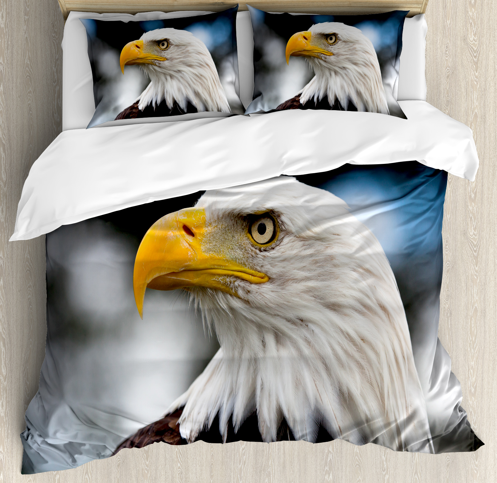 Eagle King Size Duvet Cover Set, Photo of the Head of Freedom Symbol in America with Blurred Background, Decorative 3 Piece Bedding Set with 2 Pillow Shams, Dark Brown Marigold Blue, by Ambesonne