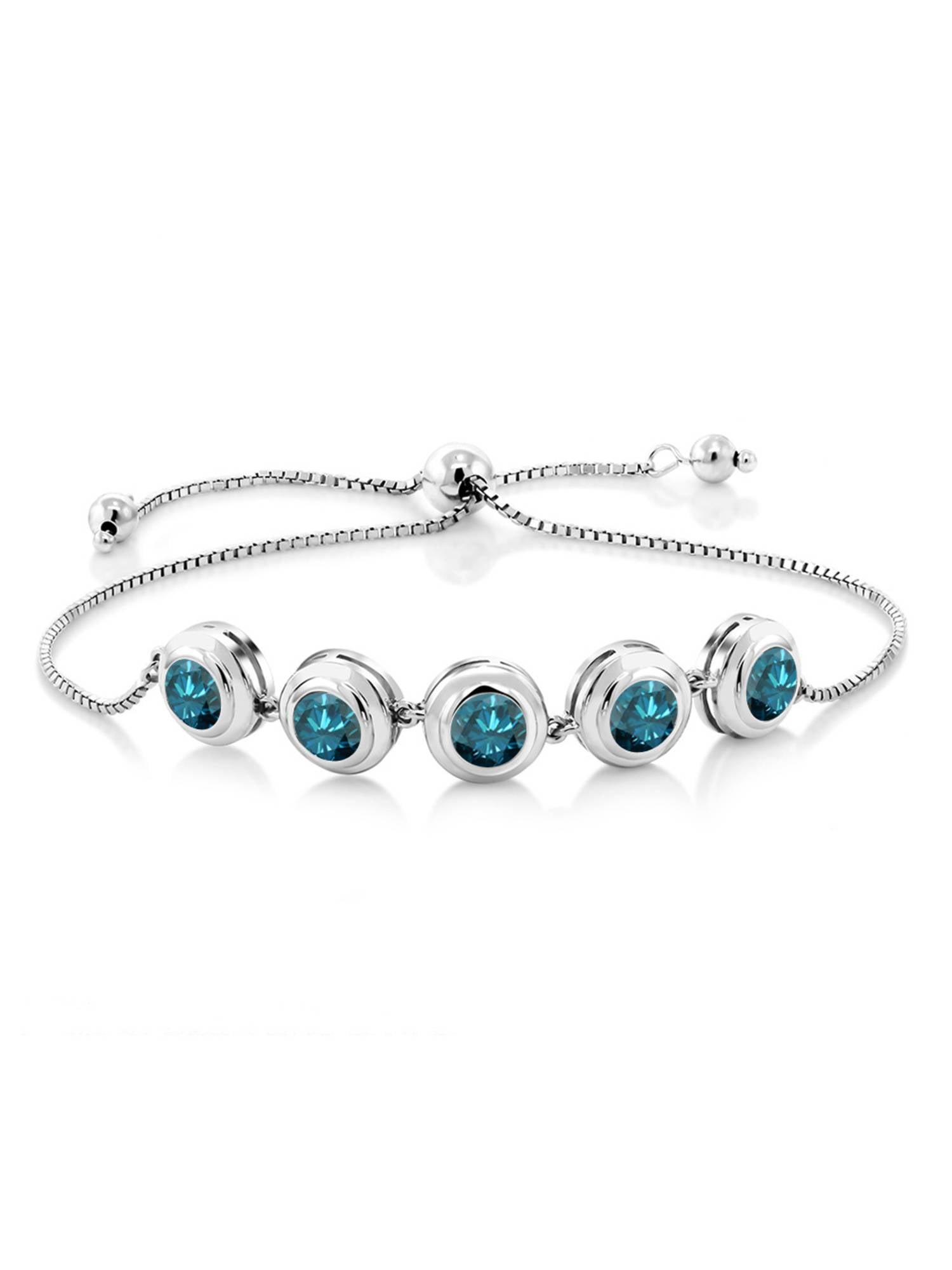 4.00 Ct Round Blue Diamond 925 Sterling Silver Bracelet by