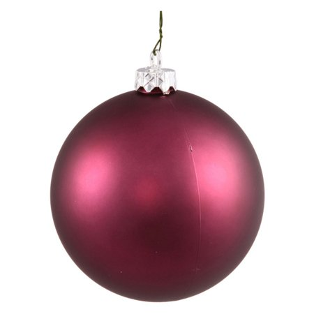 "Vickerman 3"" Plum Matte Ball Ornaments with UV-Resistant Finish and Pre-Drilled Cap, Set of 12"