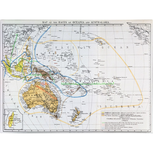 Trademark Art 'Map of the Races of Oceania and Australasia' Canvas Art