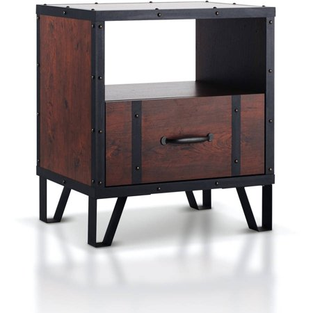 (Furniture of America Alease Industrial Multi-storage Nightstand, Vintage Walnut)