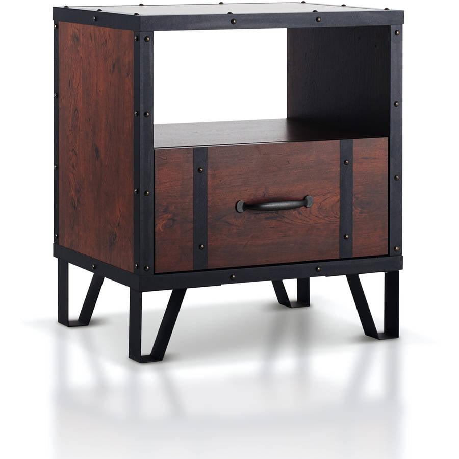 Furniture of America Alease Industrial Multi-storage Nightstand, Vintage Walnut
