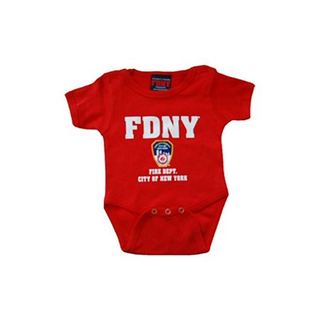FDNY INFANTS RED BodySuit WITH COLORED CHEST PRINT