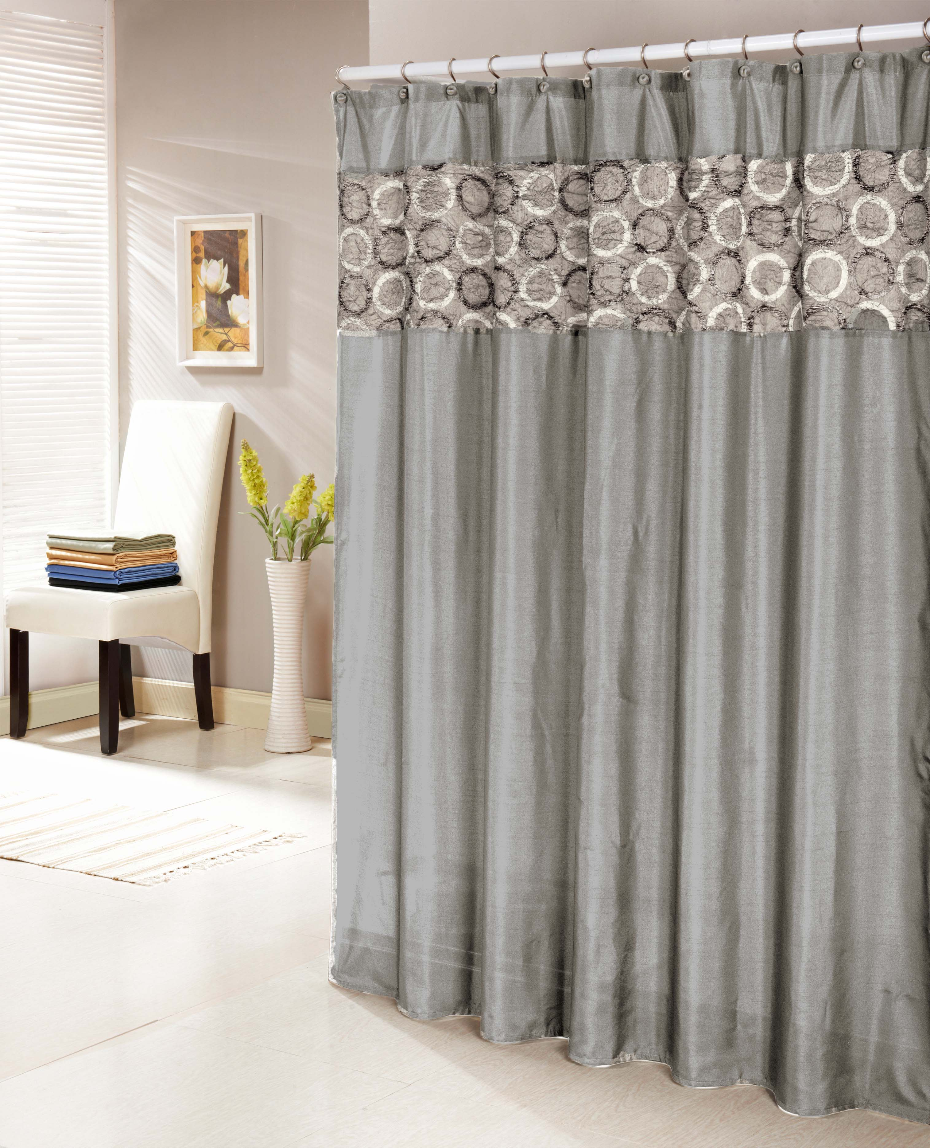 Silver Gray Faux Silk Shower Curtain With 14 Textured And Circle Patterned Mocha Stripe