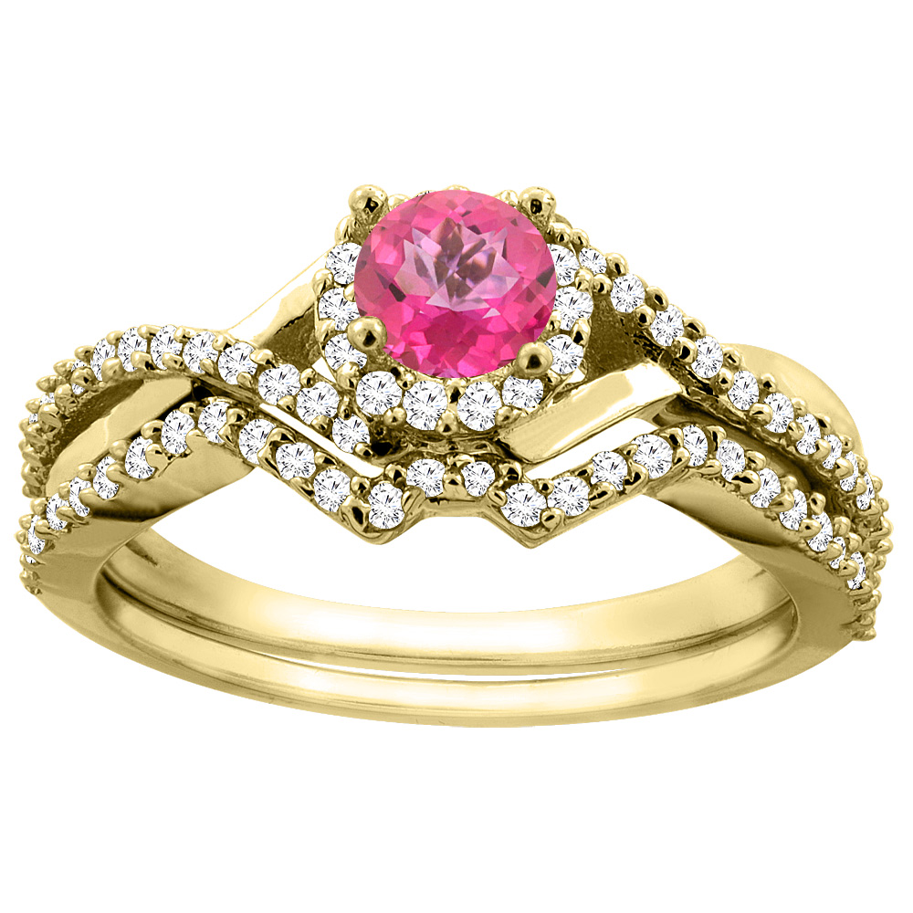 14K Yellow Gold Natural Pink Topaz 2-piece Bridal Ring Set Round 5mm, size 5 by Gabriella Gold