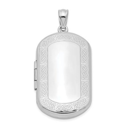 Irish Claddagh Pendant - 925 Sterling Silver Irish Claddagh Celtic Knot Border Rectangular Photo Pendant Charm Locket Chain Necklace That Holds Pictures Shaped Gifts For Women For Her