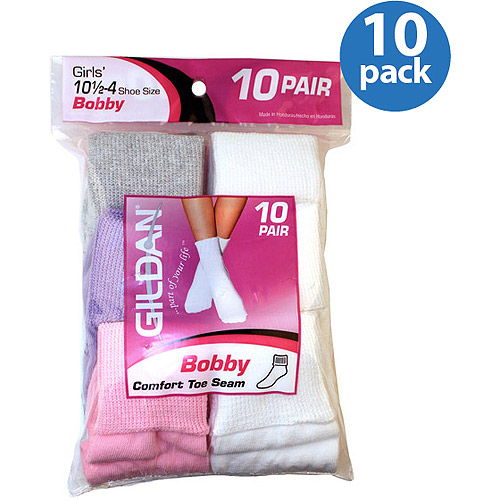 Gildan Girls Bobby Socks, 10-Pack