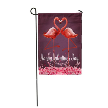 - SIDONKU Love and Valentine Day Romantic Pink Flamingo Birds Join Garden Flag Decorative Flag House Banner 12x18 inch