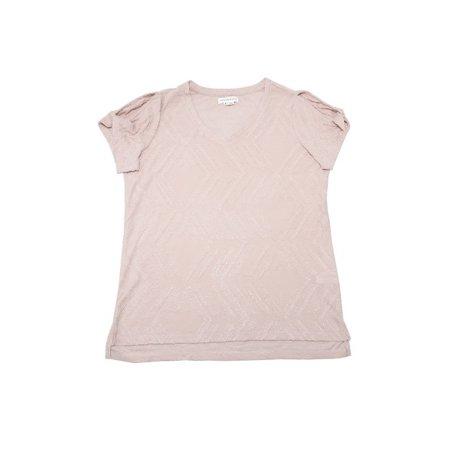 Peace & Pearls Womens Size Medium Twist Sleeve Hi-Low Hem Eyelash Tee, Rose Smoke ()