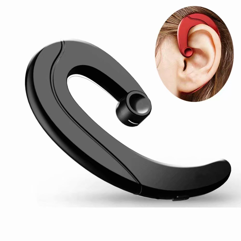 bone-conduction wireless headsets, Very Light Small Ear-hook Headphones with Microphone, Blue-tooth Head-phones for Cell Phones, Non in-Ear Bluetooth Earbuds (Black)