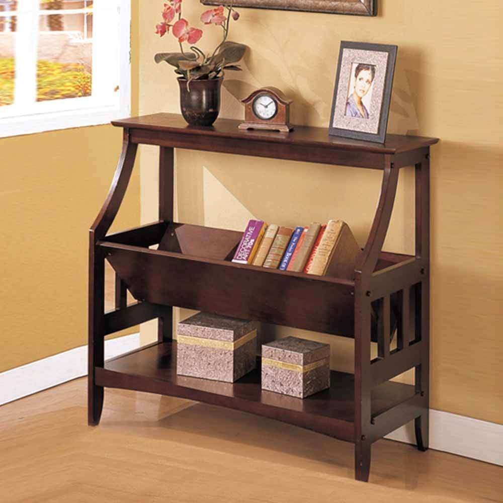 Contemporary Wood Magazine Table Book Storage Console Sofa Table Stand Rack in Walnut by