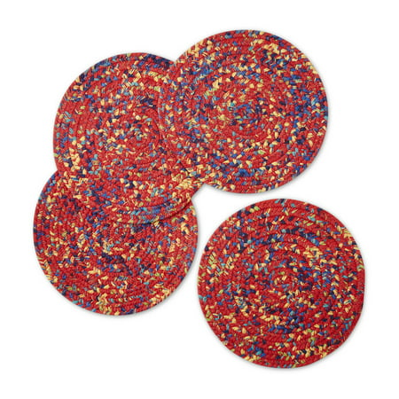 Red Round Placemats (The Pioneer Woman Fiona Floral Braided Placemats, Red, Set of)