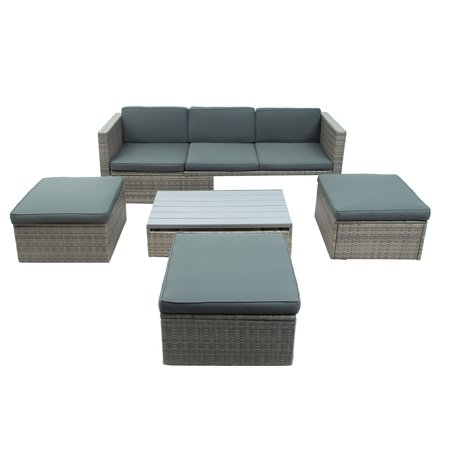 Outdoor Rattan Sofa Set, 5 Pcs Wicker Patio Furniture Set, Patio Lounger Sofa Set with Soft Cushions and Coffee Table, Outdoor Sectional Sofa Furniture Set for Backyard, Porch, Deck, JA3303