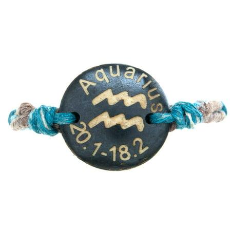 Frogsac Zodiac Sign Charm Adjustable Cord Bracelet (Zodiac Mens Bracelets)