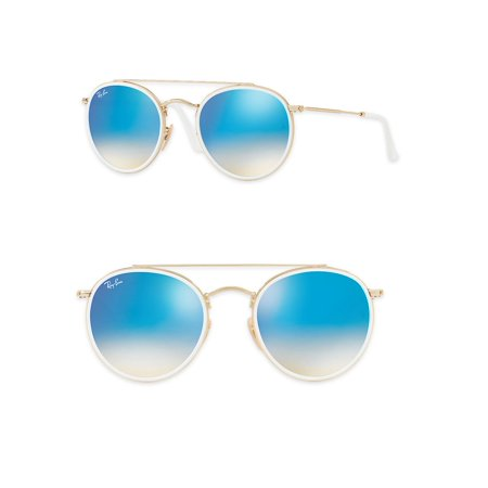 Ray-Ban Unisex RB3647N Round Double Bridge Metal Sunglasses, (Ray Ban Round Mirrored Metal Sunglasses)