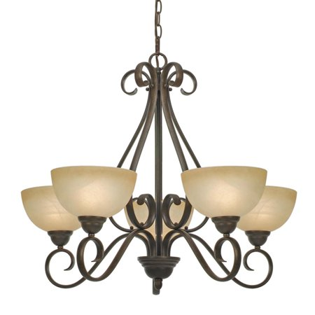 Golden Lighting 1567-5 Five Light Chandelier from the Riverton Collection