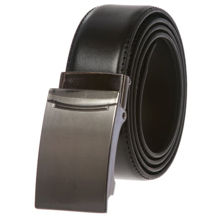 Men's Feather Edged Slide Leather Dress Belt with Automatic Buckle (Slide Buckle Belt)