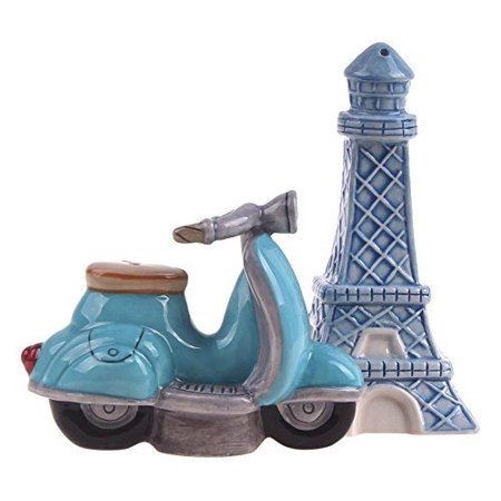 Tower Salt - RETRO PARIS Eiffel Tower & Scooter Salt & Pepper Shaker Set, Blue Sky Ceramics