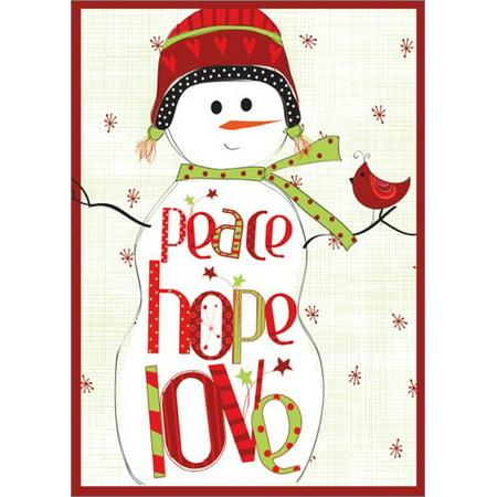 LPG Greetings Peace Love Hope Snowman: Amylee Weeks Christmas Card
