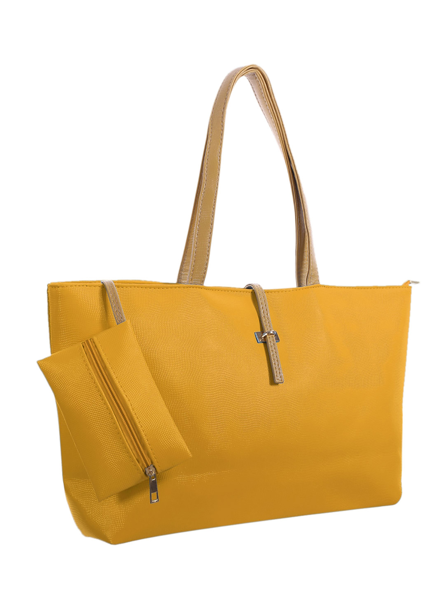 Women's Contrast Color Detail Textured Leatherette Tote w Pouch