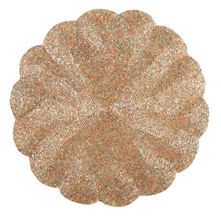 Nantucket Home Beaded Scallop Placemat, 14.5-Inch (Peach)