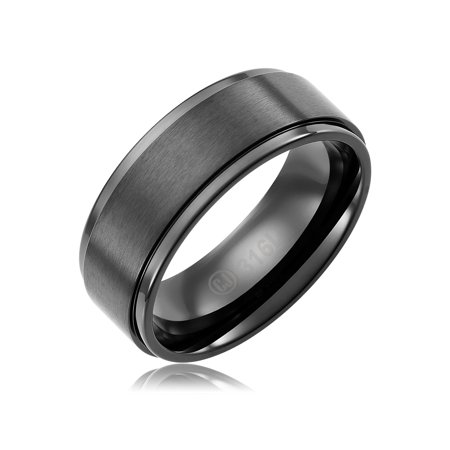 316l Stainless Steel Wedding Ring - Mens Wedding Band in 316L Stainless Steel 8MM Ring Black Plated - Brushed Top and Grooved Polished Edges