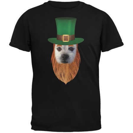 St. Patricks Day - Funny Leprechaun Dog Black Adult T-Shirt