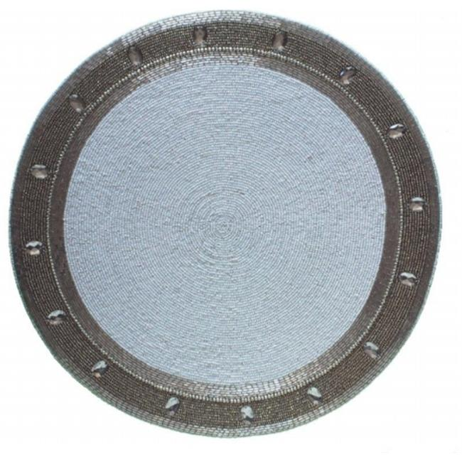 Kianni Decor PM - 37 Handcrafted Glassbeaded Placemat with Circular White Center with Grey Border