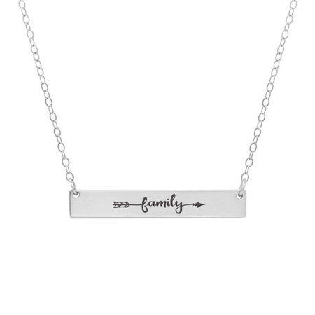 Arrow Pendant Necklace (Anavia Family Arrow Inspirational Stainless Steel Silver Bar Necklace Horizontal Pendant Jewelry with Gift Box )