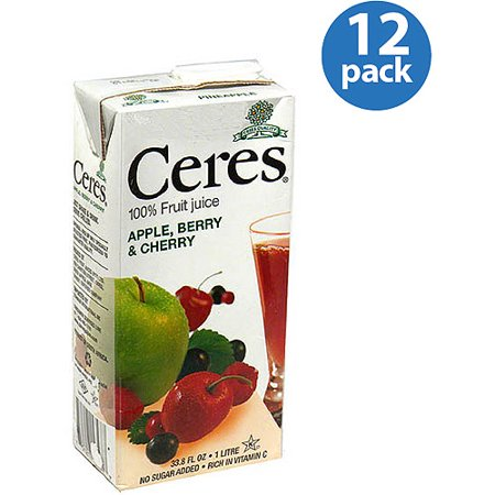 Apple Berry Farm - Ceres Apple, Berry & Cherry 100% Fruit Juice, 33.8 fl oz, (Pack of 12)