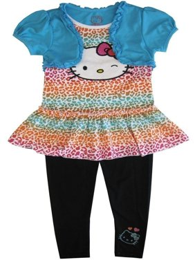 1472e75594366 Product Image Sanrio Little Girls Multi Color Hello Kitty Animal Pattern 2  Pc Pant Set 4-6X