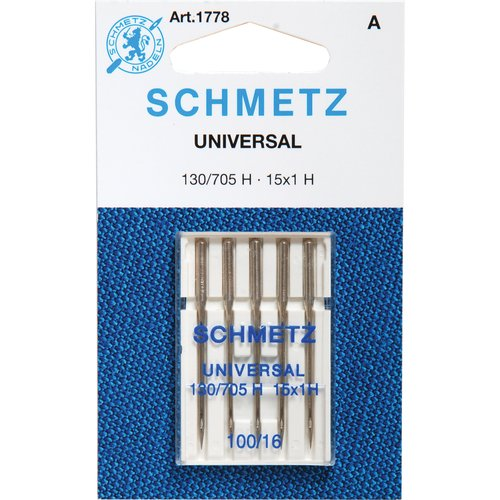 25 Schmetz Universal Sewing Machine Needles 130/705H 15x1H Size 100/16