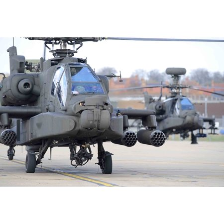 LAMINATED POSTER Two Army Air Corps Apache attack helicopters are pictured at the Army Aviation Centre Middle Wallop. Poster Print 24 x (64a Apache Attack Helicopter)