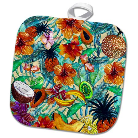 3dRose Aloha Fresh Fruit Hibiscus Flower Jungle Tropical Hawaii Pattern - Pot Holder, 8 by 8-inch Fresh Flower Holders