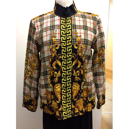 Pleated Printed Satin Jacket, Plaid And Scroll Burberry And Versace Type Print (Style# 29603)