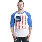 Shop4Ever Men's United States of America Flag USA 4th of July Raglan Baseball Shirt
