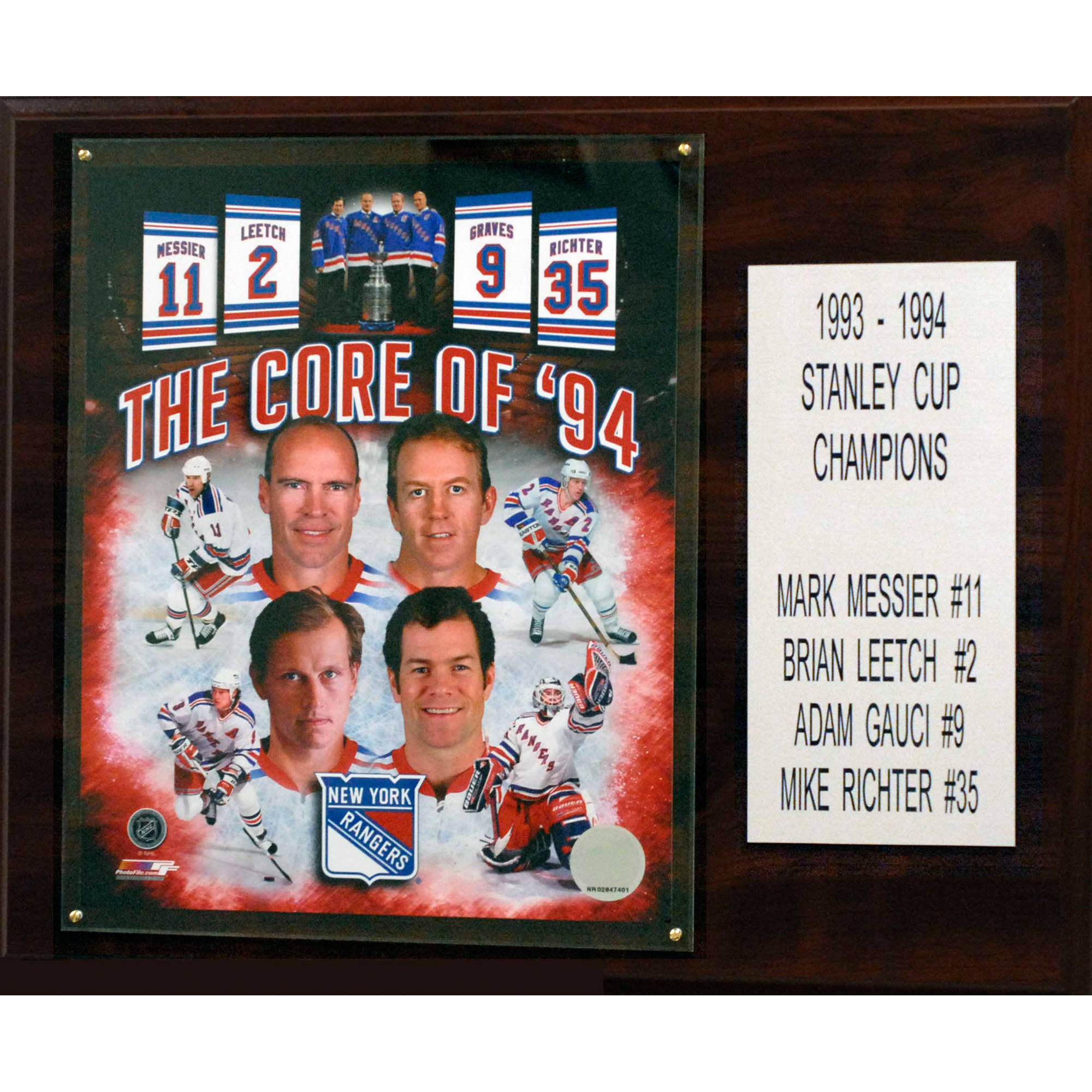 C&I Collectables NHL 12x15 Core Four New York Rangers Player Plaque