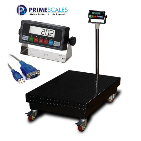 Prime Scales PS-B1000 22x32 Inch 1000x0.1lb Bench Scale Floor Scales Industrial Scales Postal/Shipping Scales Smart Scales Weight Scales with Casters