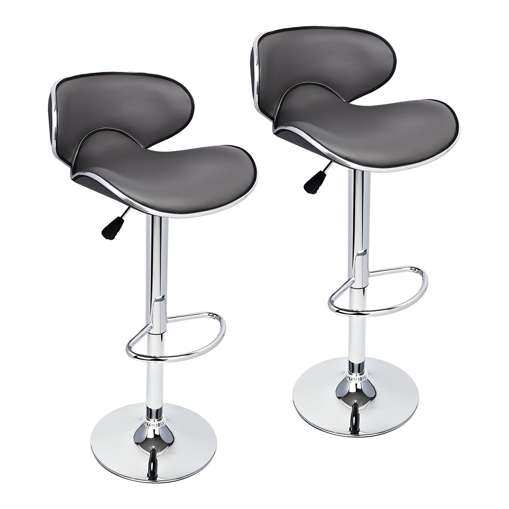 2 Pcs Gray Modern Bar Stool Adjustable Height Swivel Counter Chair Barstools