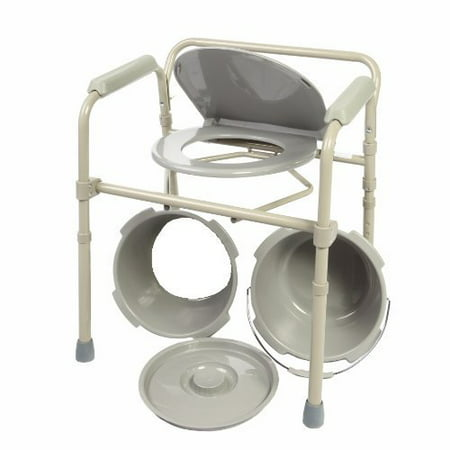 Deluxe Folding Bedside Commode by Healthline Trading, 3 in 1 Medical Steel Folding Bedside Commode Chair Toilet Seat With Commode Bucket and Splash Guard and Handles Deluxe All In One Commode