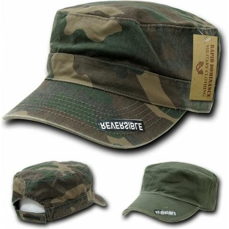 - RapDom Reversible Flat Top Mens Cadet Cap [Woodland Camouflage - Adjustable]