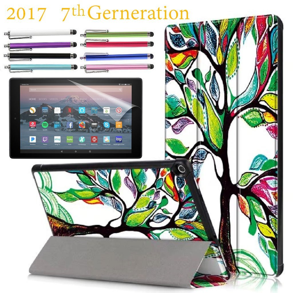 "Amazon Fire HD 10"" Case, EpicGadget 7th Generation Fire HD 10 Tri-fold Stand Ultra Lightweight Slim Cover PU Leather Case For Fire HD 10 (2017) + 1 Screen Protector and 1 Stylus (Love Tree)"