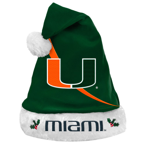 Forever Collectibles NCAA Swoop Logo Santa Hat, University of Miami Hurricanes