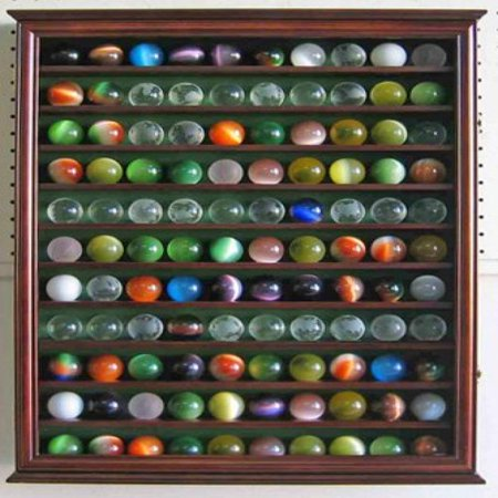 Large Toy/Antique/Glass Marble Balls/Bouncy Ball Display Case Holder Cabinet - WALNUT Finish (Large China Cabinet)