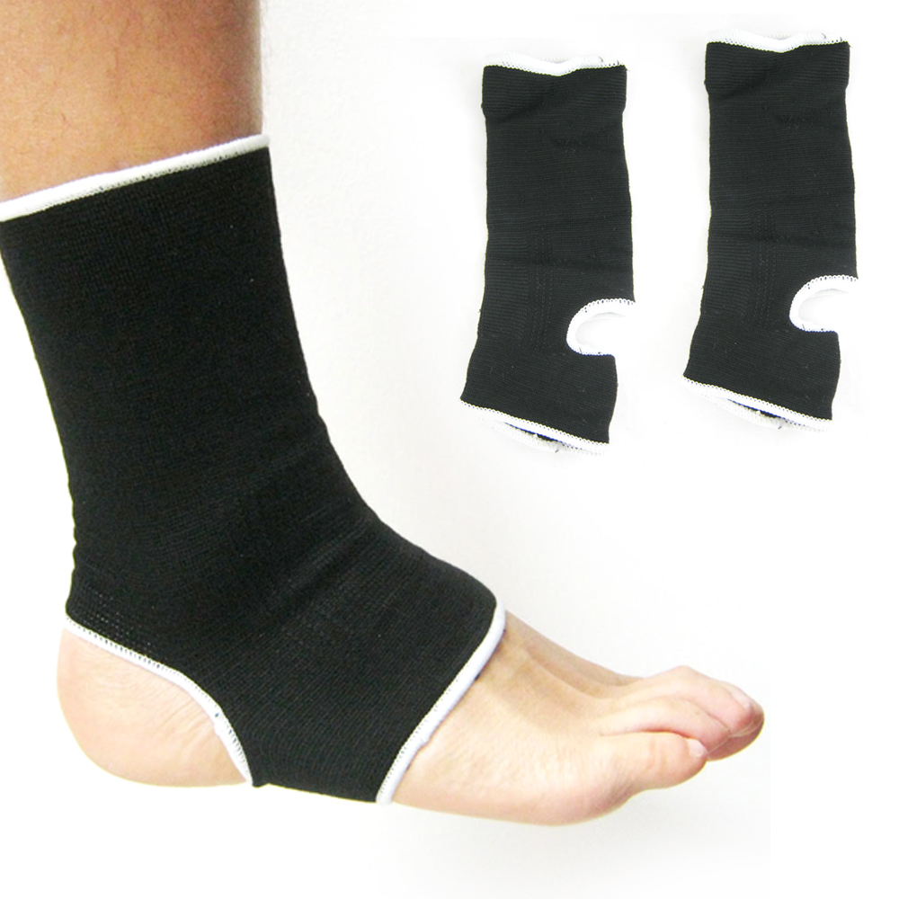 2 Stretch Elastic Ankle Support Protection Arc Brace Wrap Guard Sports Gym Black